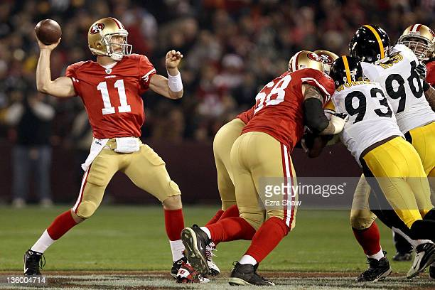 Quarterback Alex Smith of the San Francisco 49ers passes the ball in the first quarter against the Pittsburgh Steelers at Candlestick Park on...