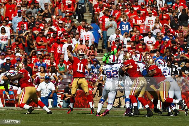 Quarterback Alex Smith of the San Francisco 49ers passes the ball against the Buffalo Bills during the first quarter at Candlestick Park on October 7...