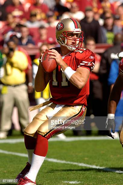 Quarterback Alex Smith of the San Francisco 49ers throws a pass during a game on October 23 2005 against the Washington Redskins at Fedex Field in...