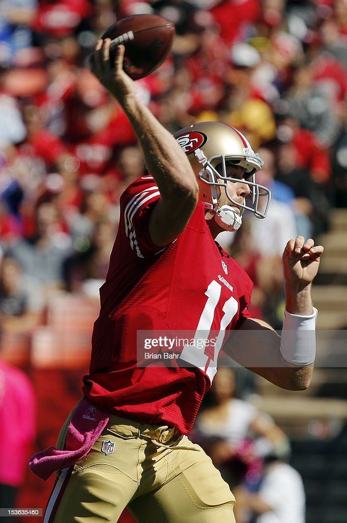 Quarterback Alex Smith #11 of the San Francisco 49ers throws against the Buffalo Bills in the first quarter on October 7, 2012 at Candlestick Park in San Francisco, California. The 49ers won 45-3.