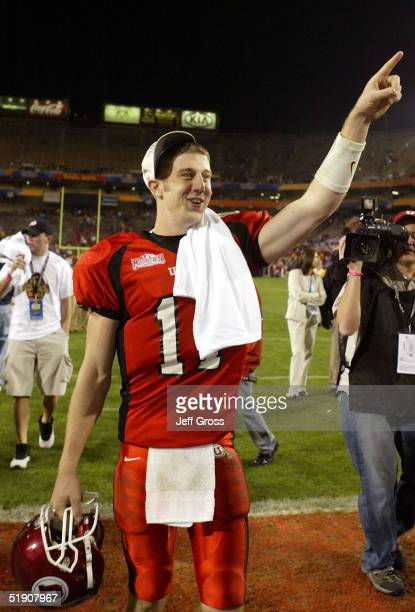 Quarterback Alex Smith of Utah celebrates his MVP award following his team's 357 victory over Pittsburgh in the Tostito's Fiesta Bowl at the Sun...