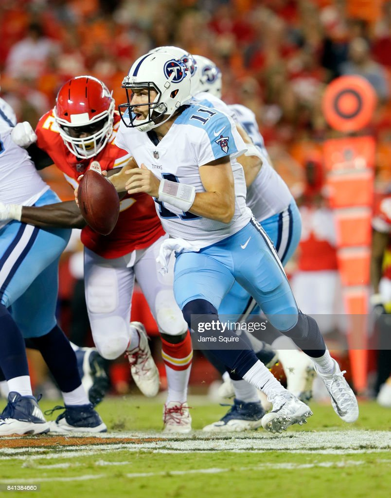 Quarterback Alex Tanney #11 of the Tennessee Titans in action during the game against the Kansas City Chiefs at Arrowhead Stadium on August 31, 2017 in Kansas City, Missouri.