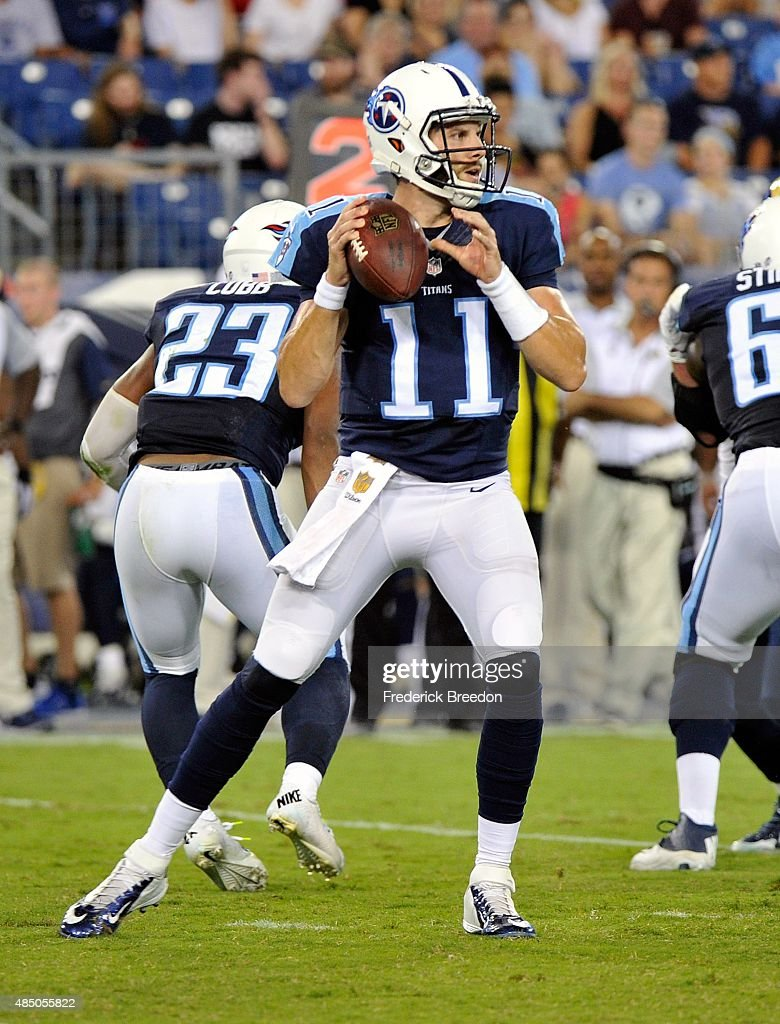 Quarterback Alex Tanney #11 of the Tennessee Titans plays against the St. Louis Rams during the second half of a pre-season game at LP Field on August 23, 2015 in Nashville, Tennessee.