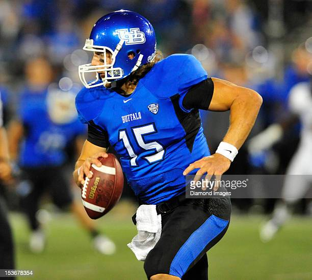 Quarterback Alex Zordich of the Buffalo Bulls scrambles with the ball during a game with the Kent State Golden Flashes at UB Stadium in Buffalo New...