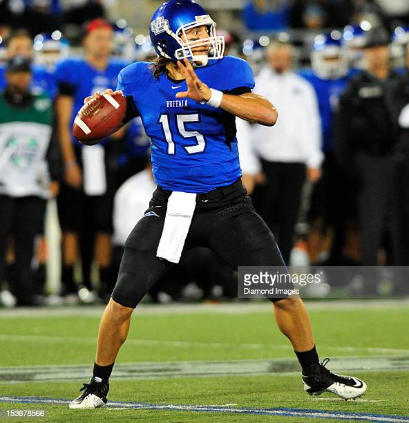 Quarterback Alex Zordich of the Buffalo Bulls sets up to pass during a game with the Kent State Golden Flashes at UB Stadium in Buffalo New York The...