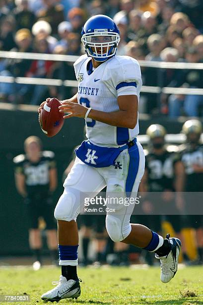 Quarterback Andre Woodson of the Kentucky Wildcats rolls out of the pocket during the first half against the Vanderbilt Commodores at Vanderbilt...