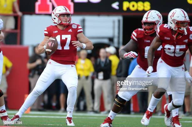 Quarterback Andrew Bunch of the Nebraska Cornhuskers looks to pass against the Colorado Buffaloes at Memorial Stadium on September 8 2018 in Lincoln...