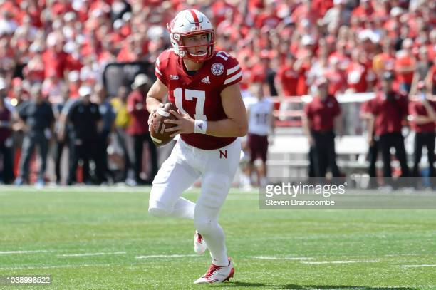 Quarterback Andrew Bunch of the Nebraska Cornhuskers looks to pass against the Troy Trojans at Memorial Stadium on September 15 2018 in Lincoln...