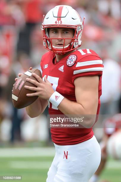 Quarterback Andrew Bunch of the Nebraska Cornhuskers warms up before the game against the Colorado Buffaloes at Memorial Stadium on September 8 2018...