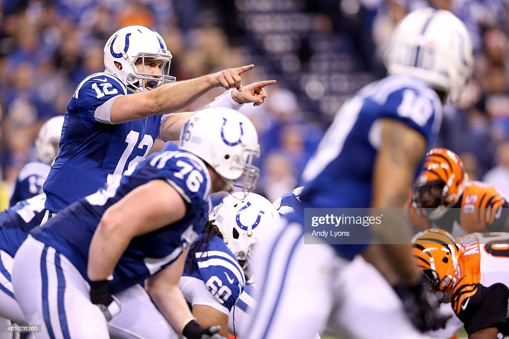 Quarterback Andrew Luck #12 of the Indianapolis Colts calls a play at the line against the Cincinnati Bengals in the second half during their AFC Wild Card game at Lucas Oil Stadium on January 4, 2015 in Indianapolis, Indiana.
