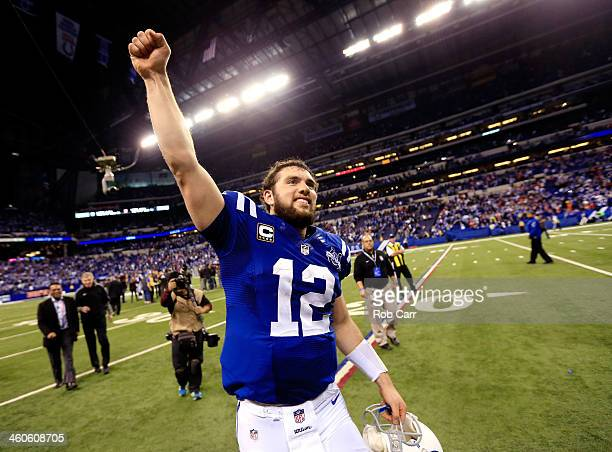 Quarterback Andrew Luck of the Indianapolis Colts celebrates after defeating the Kansas City Chiefs 4544 in a Wild Card Playoff game at Lucas Oil...