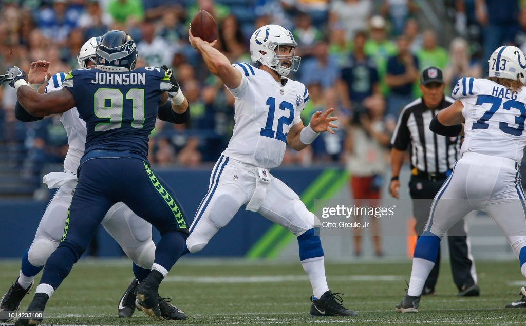 Quarterback Andrew Luck #12 of the Indianapolis Colts passes against the Seattle Seahawks at CenturyLink Field on August 9, 2018 in Seattle, Washington.