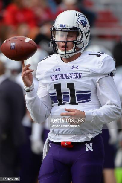 Quarterback Andrew Marty of the Northwestern Wildcats warms up before the game against the Nebraska Cornhuskers at Memorial Stadium on November 4...