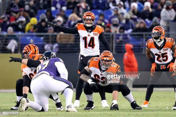 Quarterback Andy Dalton of the Cincinnati Bengals calls a play at the line of scrimmage in the first quarter against the Baltimore Ravens at MT Bank...