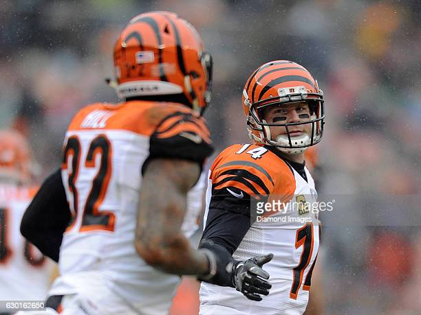 Quarterback Andy Dalton of the Cincinnati Bengals congratulates running back Jeremy Hill after a rushing touchdown by Hill during a game against the...