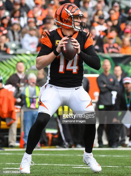 Quarterback Andy Dalton of the Cincinnati Bengals drops back to pass in the second quarter of a game against the Cleveland Browns on November 25 2018...