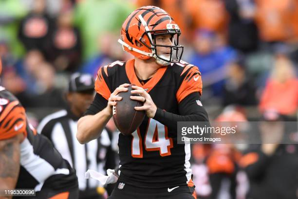 Quarterback Andy Dalton of the Cincinnati Bengals drops back to pass in the first quarter of a game against the Cleveland Browns on December 29, 2019...