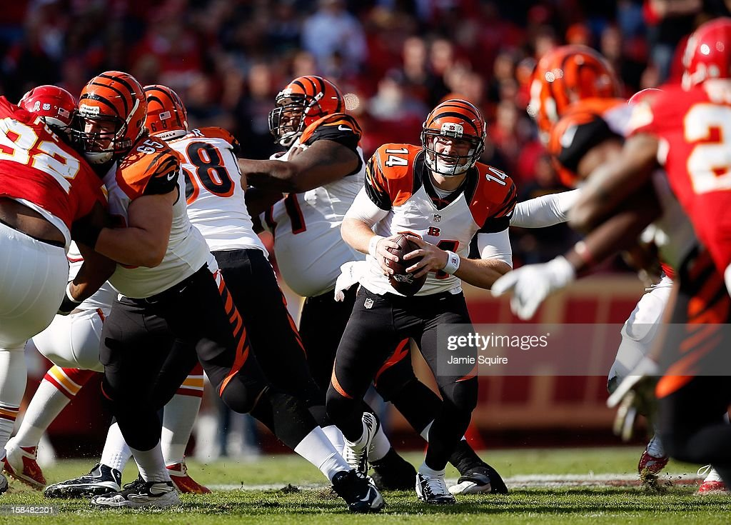 Quarterback Andy Dalton #14 of the Cincinnati Bengals in action during the game against the Kansas City Chiefs at Arrowhead Stadium on November 18, 2012 in Kansas City, Missouri.