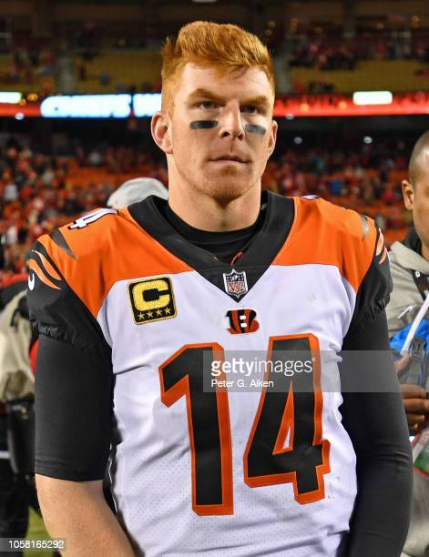 Quarterback Andy Dalton of the Cincinnati Bengals looks on after a game against the Kansas City Chiefs on October 21 2018 at Arrowhead Stadium in...