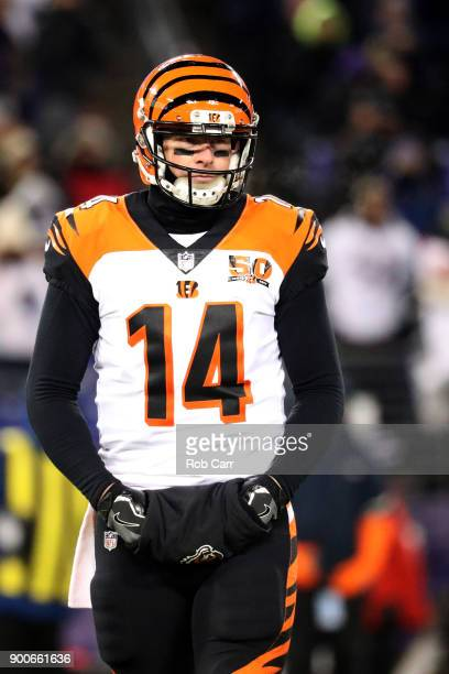 Quarterback Andy Dalton of the Cincinnati Bengals looks on against the Baltimore Ravens in the second half at MT Bank Stadium on December 31 2017 in...