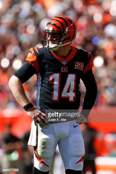 Quarterback Andy Dalton of the Cincinnati Bengals looks on in the second half during the game against the Cleveland Browns at FirstEnergy Stadium on...