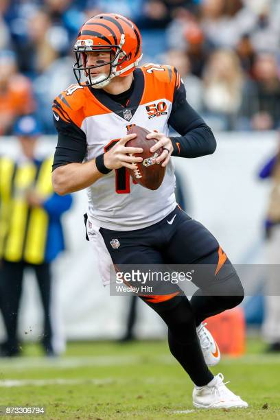 Quarterback Andy Dalton of the Cincinnati Bengals looks to pass against the Tennessee Titans at Nissan Stadium on November 12 2017 in Nashville...