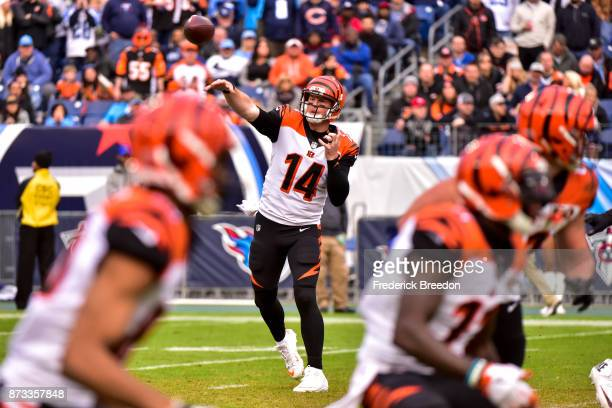 Quarterback Andy Dalton of the Cincinnati Bengals makes a pass against the Tennessee Titans at Nissan Stadium on November 12 2017 in Nashville...