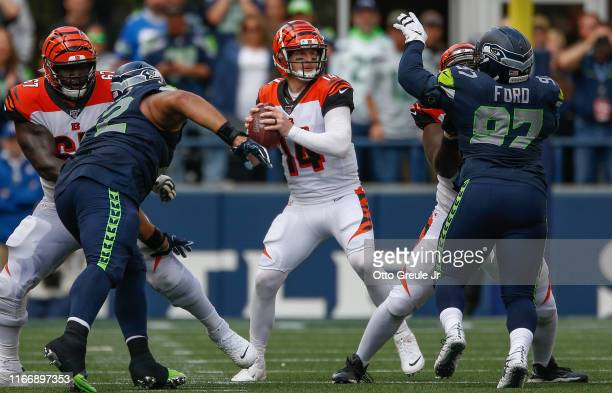 Quarterback Andy Dalton of the Cincinnati Bengals passes against the Seattle Seahawks at CenturyLink Field on September 8 2019 in Seattle Washington