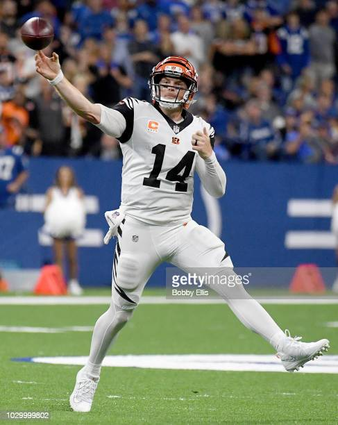 Quarterback Andy Dalton of the Cincinnati Bengals passes the ball during the third quarter of the game against the Indianapolis Colts at Lucas Oil...