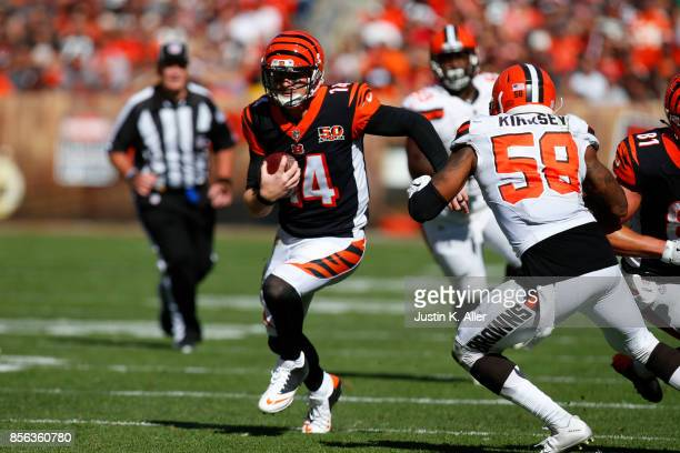 Quarterback Andy Dalton of the Cincinnati Bengals runs the ball in the second half against the Cleveland Browns at FirstEnergy Stadium on October 1...