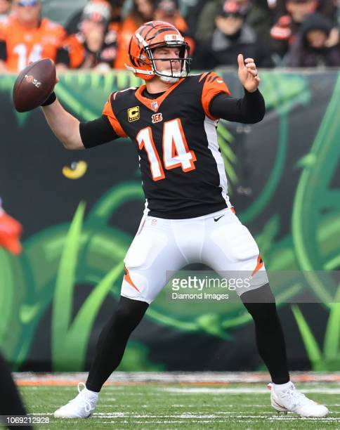 Quarterback Andy Dalton of the Cincinnati Bengals throws a pass in the second quarter of a game against the Cleveland Browns on November 25 2018 at...