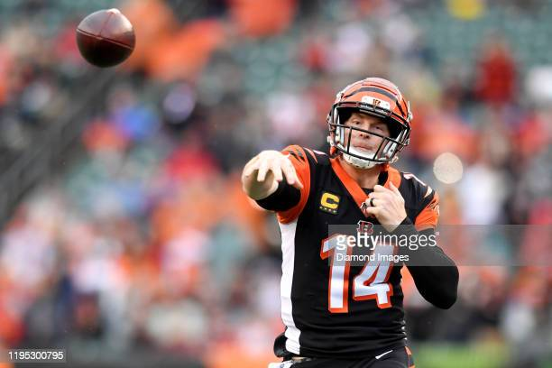 Quarterback Andy Dalton of the Cincinnati Bengals throws a pass in the first quarter of a game against the Cleveland Browns on December 29, 2019 at...