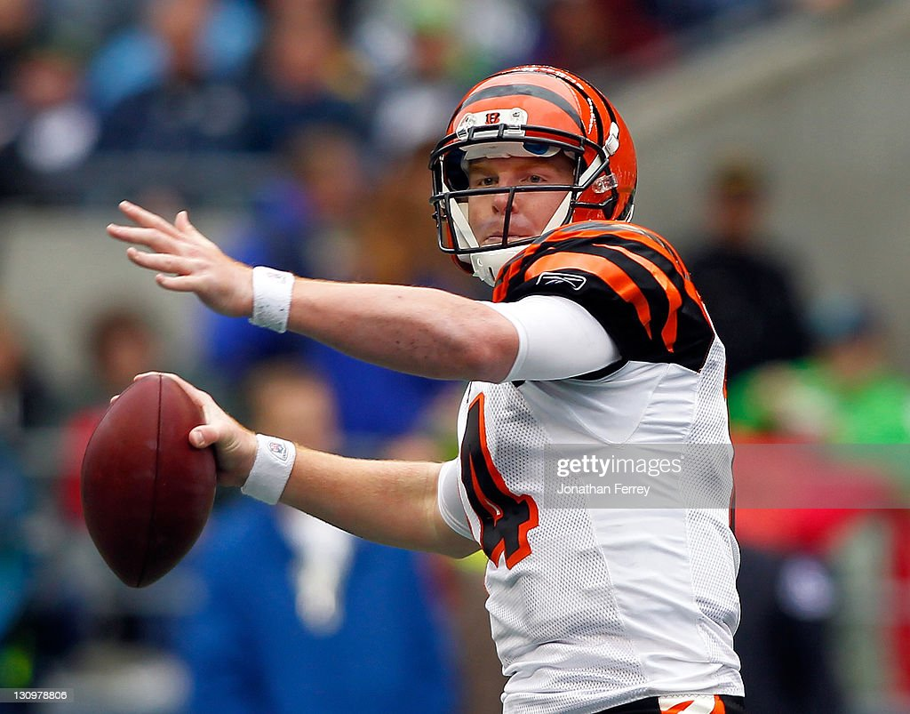 Quarterback Andy Dalton #14 of the Cincinnati Bengals throws a pass against the Seattle Seahawks on October 30, 2011 at CenturyLink Field in Seattle, Washington.