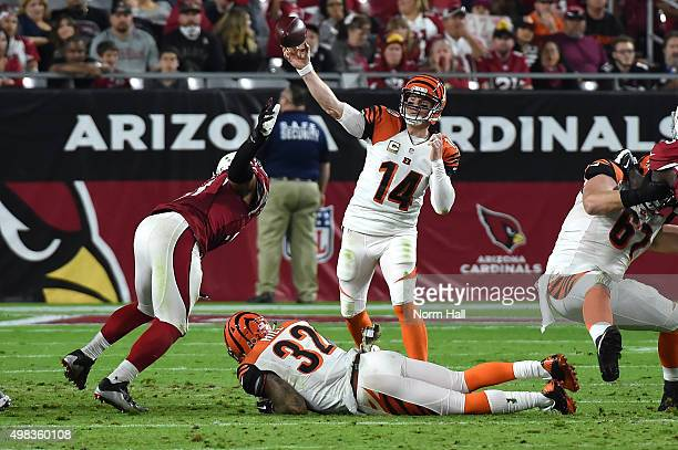 Quarterback Andy Dalton of the Cincinnati Bengals throws a pass during the NFL game against the Arizona Cardinals at University of Phoenix Stadium on...