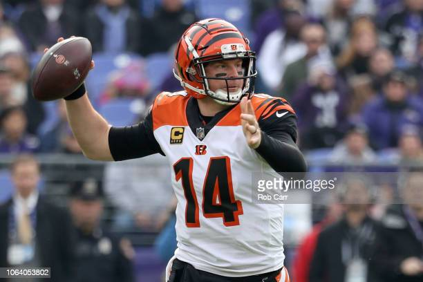 Quarterback Andy Dalton of the Cincinnati Bengals throws the ball in the first quarter against the Baltimore Ravens at MT Bank Stadium on November 18...