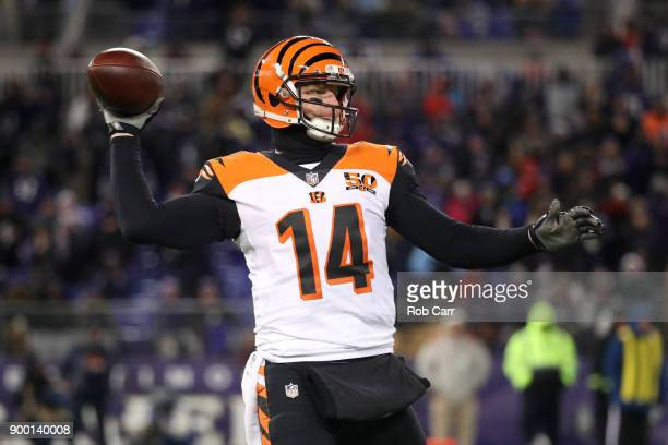 Quarterback Andy Dalton of the Cincinnati Bengals throws the ball in the fourth quarter against the Baltimore Ravens at MT Bank Stadium on December...