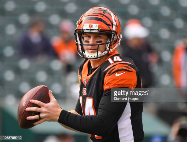 Quarterback Andy Dalton of the Cincinnati Bengals warms up prior to a game against the Cleveland Browns on November 25 2018 at Paul Brown Stadium in...