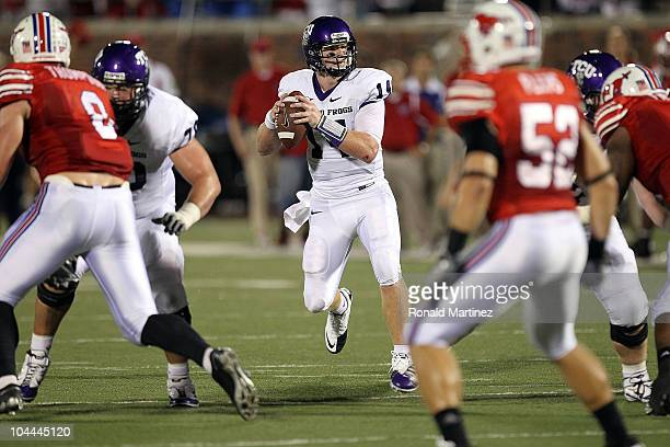 Quarterback Andy Dalton of the TCU Horned Frogs at Gerald J Ford Stadium on September 24 2010 in Dallas Texas
