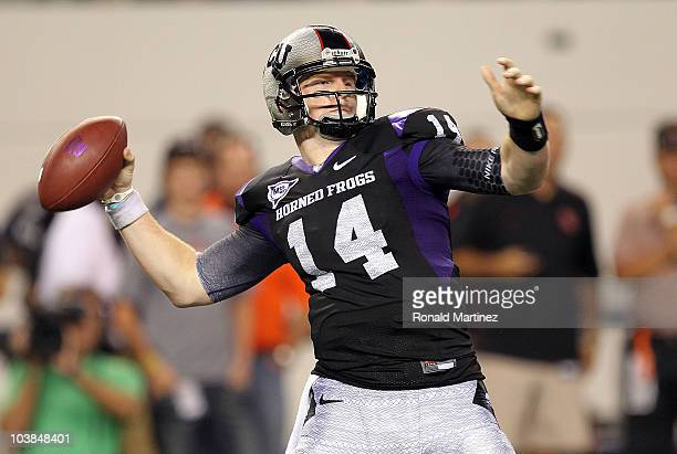 Quarterback Andy Dalton of the TCU Horned Frogs drops back to pass against the Oregon State Beavers at Cowboys Stadium on September 4 2010 in...
