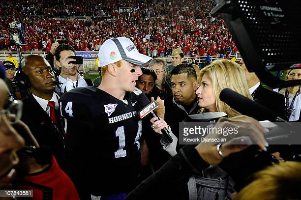 Quarterback Andy Dalton of the TCU Horned Frogs is interviewed by reporter Erin Andrews after defeating the Wisconsin Badgers 2119 in the 97th Rose...