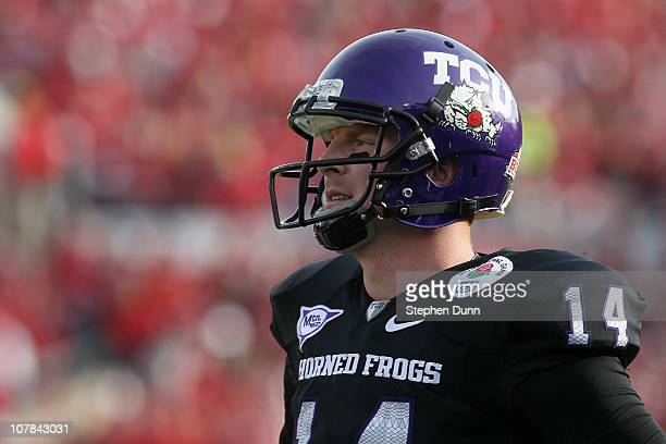 Quarterback Andy Dalton of the TCU Horned Frogs looks on against the Wisconsin Badgers during the 97th Rose Bowl game on January 1 2011 in Pasadena...