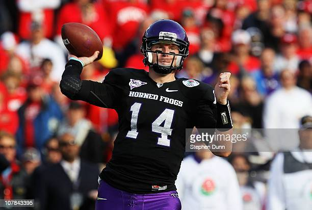 Quarterback Andy Dalton of the TCU Horned Frogs looks to pass against the Wisconsin Badgers during the 97th Rose Bowl game on January 1 2011 in...