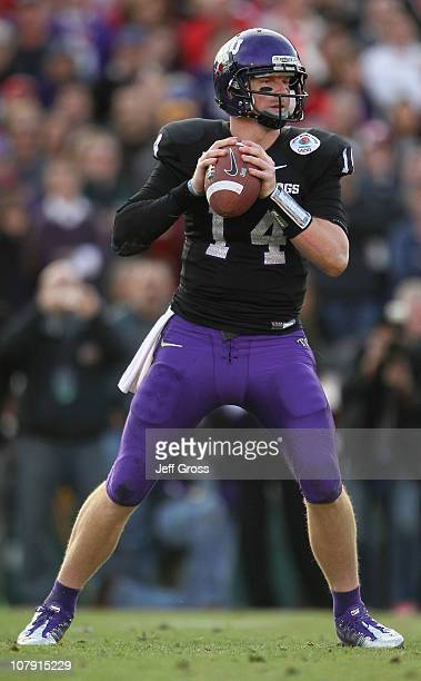 Quarterback Andy Dalton of the TCU Horned Frogs looks to pass against the Wisconsin Badgers in the 97th Rose Bowl game on January 1 2011 in Pasadena...