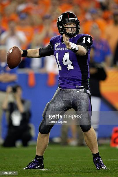 Quarterback Andy Dalton of the TCU Horned Frogs passes the ball against the Boise State Broncos during the Tostitos Fiesta Bowl at the Universtity of...