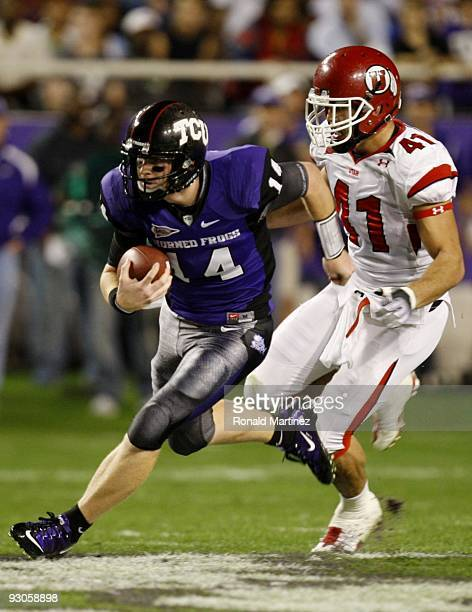 Quarterback Andy Dalton of the TCU Horned Frogs runs with the ball in the first quarter against the Utah Utes at Amon G Carter Stadium on November 14...