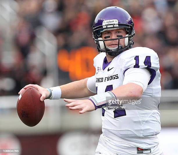 Quarterback Andy Dalton of the TCU Horned Frogs throws a pass against the Utah Utes during the second half of an NCAA Football game November 6 2010...