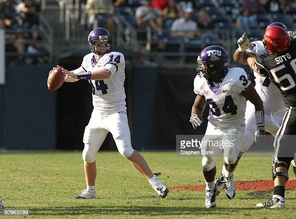 Quarterback Andy Dalton of the Texas Christian University Horned Frogs throws a pass in the game against the San Diego State Aztecs on November 7...