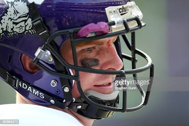 Quarterback Andy Dalton of the Texas Christian University Horned Frogs on the sideline in the game against the San Diego State Aztecs on November 7...