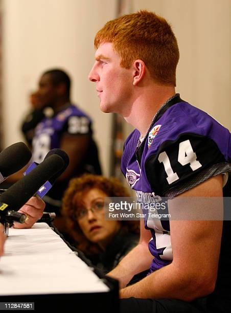 TCU quarterback Andy Dalton talks with reporters during the Fiesta Bowl Media Day at the Camelback Inn in Scottsdale Arizona Friday January 1 2010...