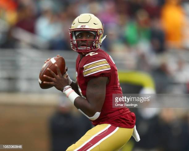 Quarterback Anthony Brown of the Boston College Eagles looks to pass during the first quarter of the game against the Louisville Cardinals at Alumni...